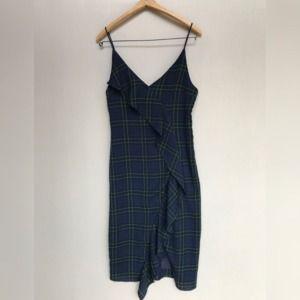 Lulu's Dresses - Lulus Navy Plaid Midi Dress Sleeveless medium